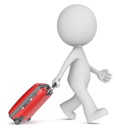 dude: Traveling. The dude 3D character walking with red modern suitcase.