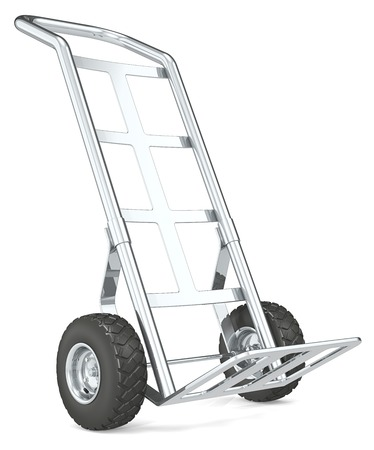 sack truck: Hand Truck. Front perspective view of an empty Hand Truck.
