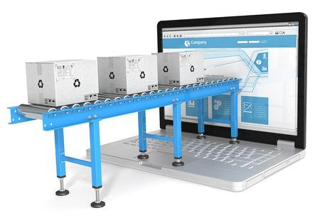 Online distributie. Industriële Transportbanden met kartonnen dozen aangesloten op laptop scherm. Blauw thema.