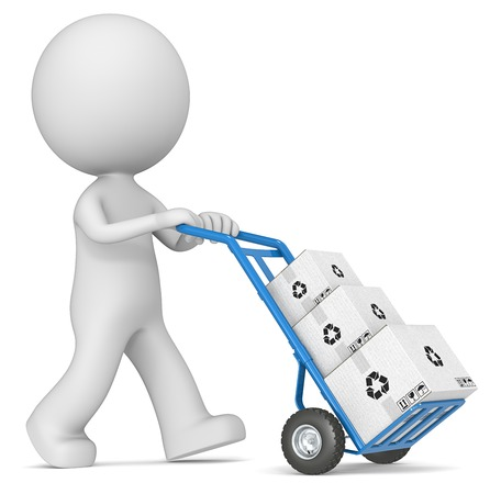 Delivering. The dude 3D character pushing blue Hand Truck with pile of white Cardboard Boxes. photo
