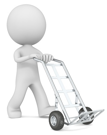 dolly bag: Hand Truck. The dude 3D character with empty Hand Truck. Stock Photo