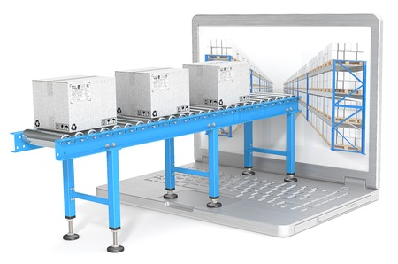 supply: Online distribution. Industrial Conveyor with cardboard Boxes connected to Laptop Screen. Blue theme.