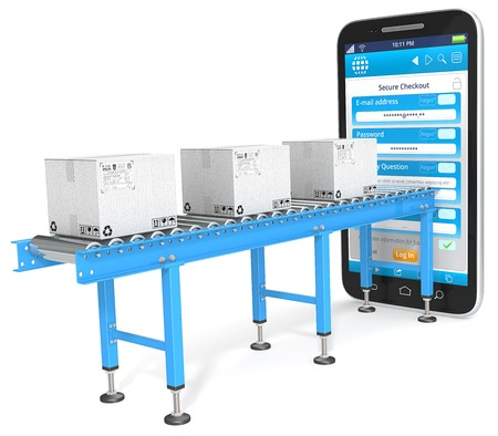 shop online: Secure Checkout. Industrial Conveyor with white cardboard Boxes connected to Smartphone. Checkout page. Stock Photo