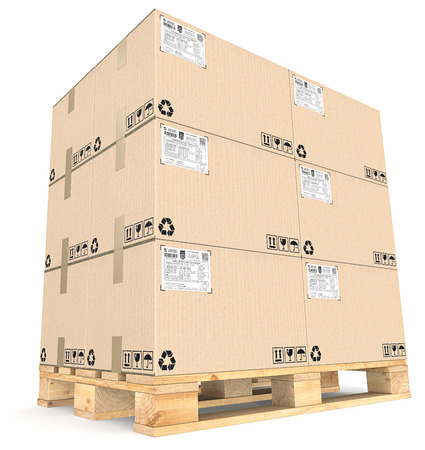 boxed: Cargo pallet and Boxes. Perspective view of Large pile of brown cardboard boxes on Eur Pallet. Shipping labels.