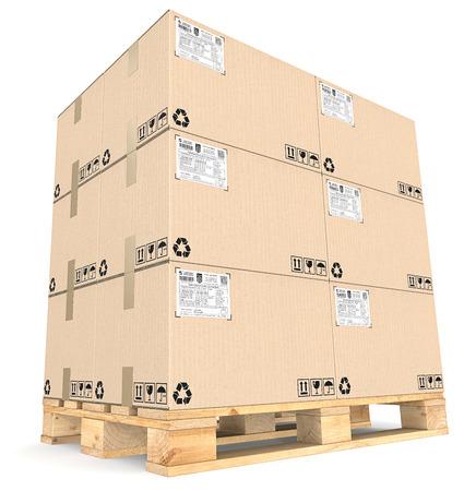 cajas de carton: Paleta de carga y cajas. Vista en perspectiva de grandes montón de cajas de cartón marrones en Eur Pallet. Etiquetas de envío.