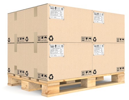wood box: Eur Pallet. Eur Pallet with pile of brown cardboard boxes. Detailed Shipping labels.