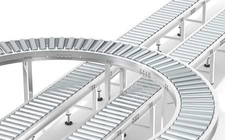 Metall-Rollenbahnsystem. Industrierollenbahnsystem. Abstrakt Montage von Stahlförderer in verschiedene Richtungen.