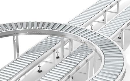 Metal Roller Conveyor System. Industrial Roller Conveyor System. Abstract assembly of steel conveyors in various directions. Archivio Fotografico