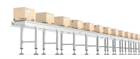 data distribution: Roller Conveyor. Horizontal view of Industrial Roller Conveyor with cardboard Boxes. All steel brown cardboard with shipping labels.