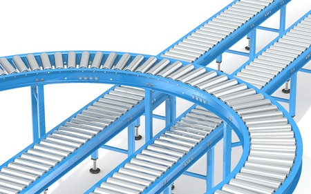 conveyors: Blue Roller Conveyor System. Abstract assembly of blue industrial conveyors in various directions.