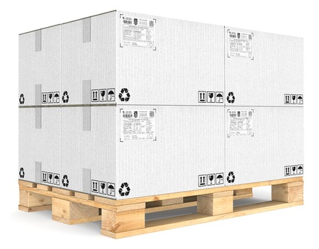 eur: Eur Pallet. Eur Pallet with pile of white cardboard boxes. Detailed Shipping labels.
