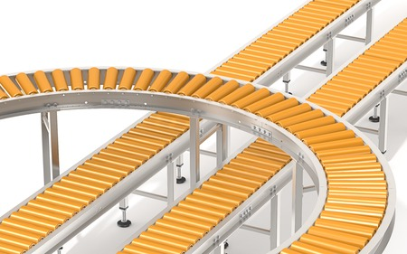 conveyors: Orange Roller Conveyor System.  Abstract assembly of steel and orange industrial conveyors in various directions.