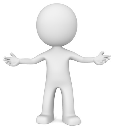 Welkom. De kerel 3D karakter nodigen met open armen.