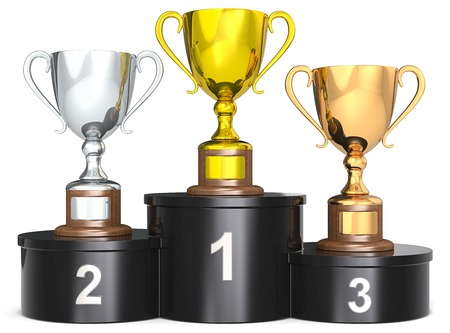 Trophy Cups. Black podium with 3 Trophies. Dark wood base. Gold silver bronze.