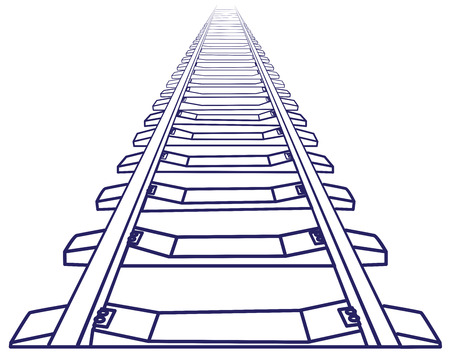 Endless train track. Perspective view of straight Train track. Sketch Outlines. Vettoriali
