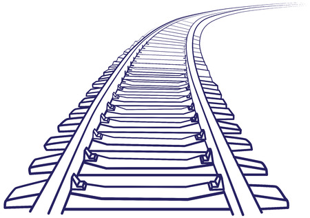railway transports: Curved endless Train track. Sketch of Curved Train track. Outlines.