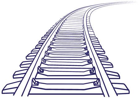 ferrocarril: Curved pista tren interminable. Bosquejo de curvado pista de tren. Contornos. Vectores