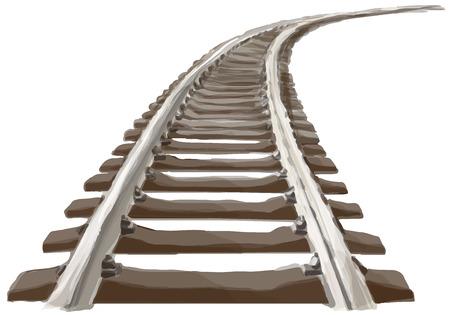 Curvo Pista del treno senza fine. Prospettiva di pista treno curvo. Versione a colori. Vettoriali