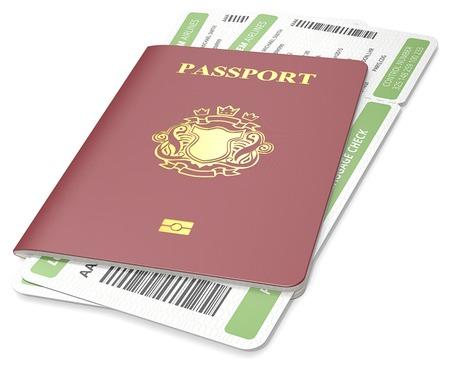 no pase: Pasaporte y el billete. Pasaporte rojo oscuro y verde tarjeta de embarque. NonCountry Blasón de oro.
