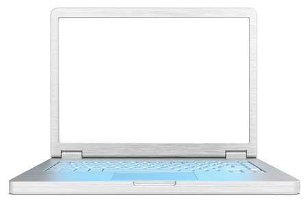 brushed steel: Laptop with blue light screen effect on keyboard. Laptop of brushed steel. No branded. Blank screen for copy space. Realistic blue light reflection on keyboard.