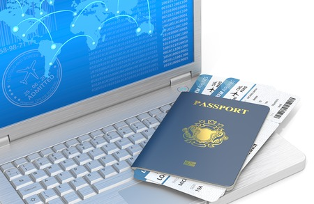 blazon: Online Travel. Laptop of brushed steel with Blue Passport and Airline tickets. Blue Screen with world map. NonCountry golden Blazon.