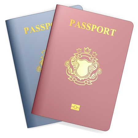 validez: Pasaportes. Rojo y Azul Pasaportes. NonCountry Blas�n de oro.