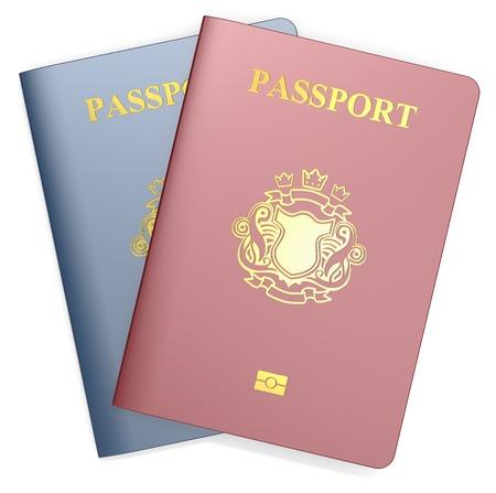 blazon: Passports. Red and Blue Passports. NonCountry golden Blazon.