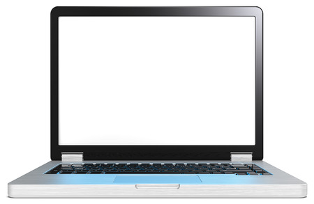 brushed steel: Laptop with blue light screen effect on keyboard. Laptop of brushed steel and black. No branded. Blank screen for copy space. Realistic blue light reflection on keyboard.