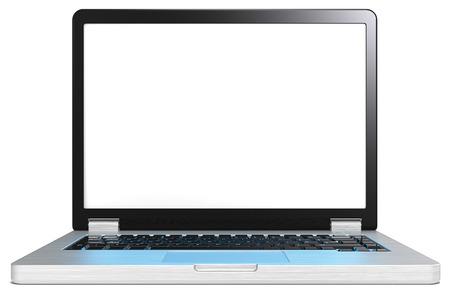 acier bross�?: Ordinateur portable avec le bleu effet d'�cran de lumi�re sur le clavier. Ordinateur portable en acier bross� et noir. Aucune marque. �cran vide espace de copie. R�flexion de la lumi�re bleue r�aliste sur le clavier. Banque d'images