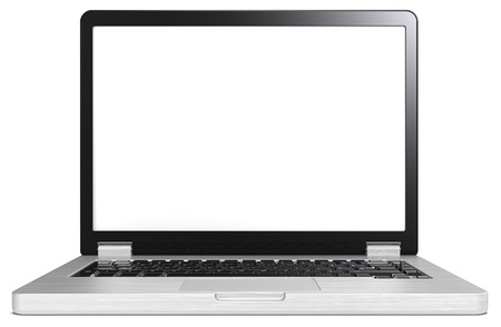 brushed steel: Silver and black Laptop. Laptop of brushed steel and black. No branded. Blank screen for copy space.