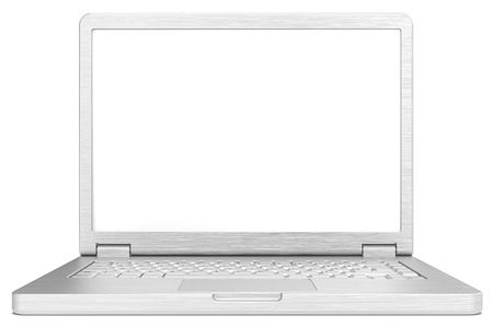 brushed steel: Laptop. Laptop of brushed steel. No branded. Blank screen for copy space.