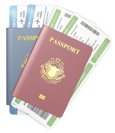 blazon: Passports and tickets. Top view of Red and Blue Passports and Boarding Pass. NonCountry golden Blazon. Stock Photo