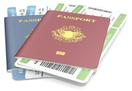 Passports and tickets. Red and Blue Passports and Boarding Pass. NonCountry golden Blazon.