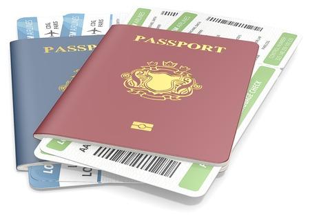 Paspoorten en tickets. Rood en Blauw Paspoorten en Boarding Pass. NonCountry gouden Blazon.