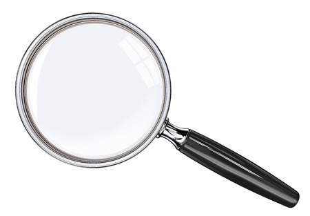 Magnifying glass. EPS 10. Photo realistic Vector magnifying glass. Black and metal.