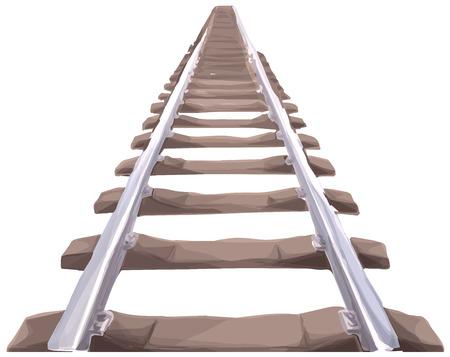無限の鉄道トラック。まっすぐに伸びる電車のパース ビューを追跡します。Aquarell スタイル。