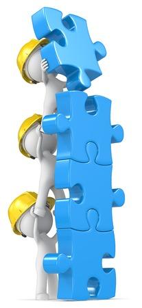albañil: Construcción. DUDE el Constructor X3 maquillaje construcción de azul las piezas del rompecabezas.