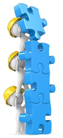 builder symbol: Construction. Dude the Builder X3 make construction of blue puzzle pieces. Stock Photo