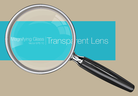 Magnifying glass.  Photo realistic Vector magnifying glass. Transparent Lens. Vettoriali