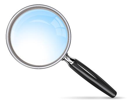 anteojos: Clásico Lupa. Vector lupa. Efecto de lente azul.