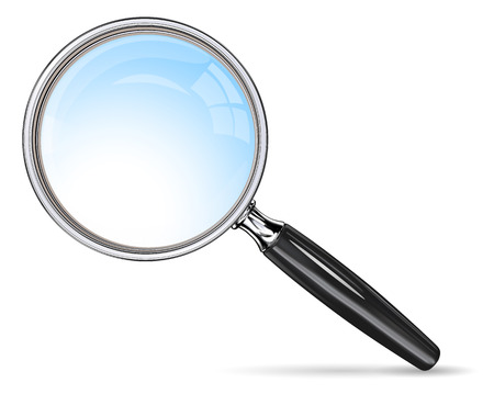magnification icon: Classic Magnifying Glass. Vector magnifying glass. Blue lens effect. Illustration