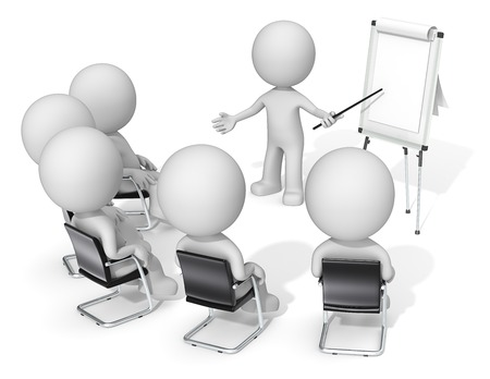 Workshop. Dude the Business people X 6 at meeting. Looking at blank flip chart. Copy space. Stock Photo