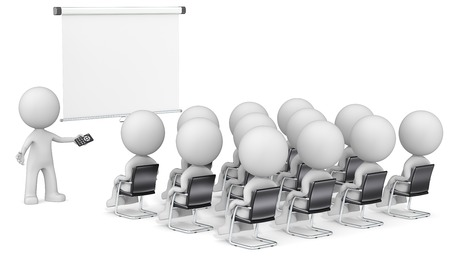 little man: Speaker and Audience. Dude the Business people X 13 at seminar. Looking at blank projector screen. Copy space. Stock Photo
