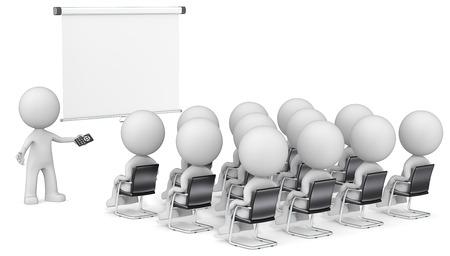 personen: Spreker en publiek. Dude de Zakenmensen X 13 op seminar. Kijken naar lege projectiescherm. Kopiëren ruimte.
