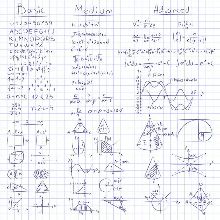 Math notes of Mathematics on seamless grid paper. 3 different levels, basic, medium and advanced. Illustration