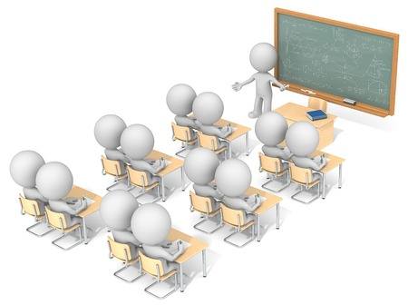 Classroom. Dude 3D characters X13 in classroom. Chalkboard with sample Mathematics. Top, side view.