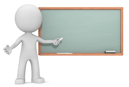 Education. The Dude 3D character holding crayon in front of Chalkboard. Copy Space. Stockfoto