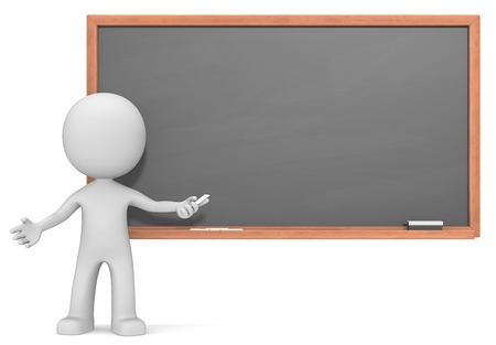 used: Teacher.  Dude the Teacher 3D character in front of Black and blank Chalkboard. Chalk dust and Copy Space. Stock Photo