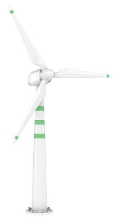 excitation: Wind turbine.  Classic windmill, turbine. Green stripes.