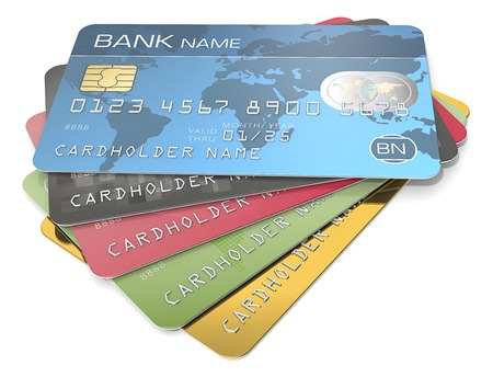 Credit Cards. Pile of 5 Credit Cards. Blue, black red, green and gold. Sample Names, Numbers and Logos. Imagens - 44301543